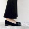 Ballerine à talon 3 cm noir.