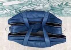 Sac bandoulière double zip, intérieur en lin naturel. 38x14x32