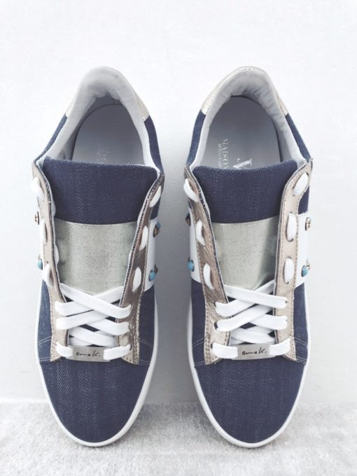Baskets compensées en jeans MAISON VIA ROMA.