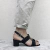 Sandales noires à talon 5 cm MAISON VIA ROMA.
