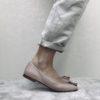 Ballerine en cuir effet chaussons de danse, MAISON VIA ROMA.