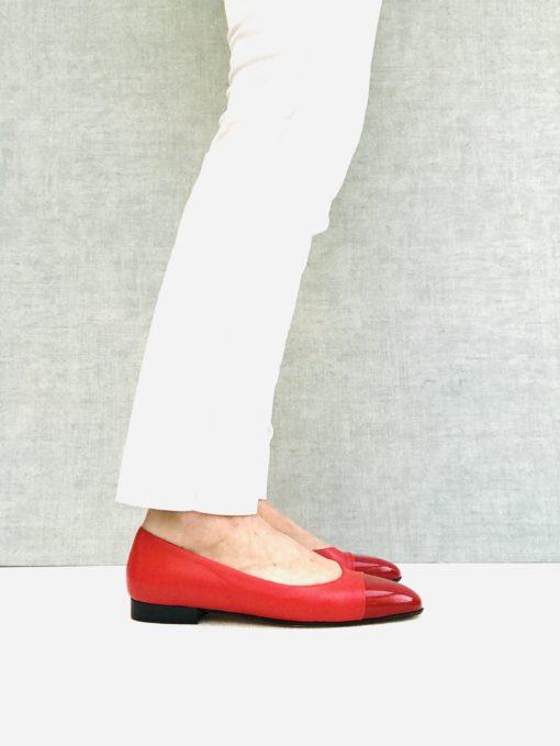 Ballerine à talon 1 cm rouge MAISON VIA ROMA.
