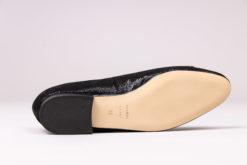 Ballerine à talon 1 cm en daim imprimé noir MAISON VIA ROMA.
