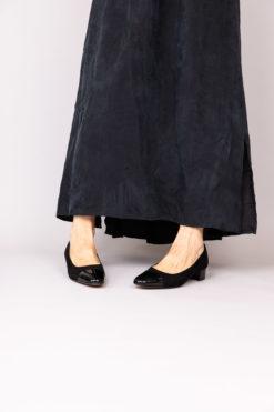Ballerine à talon 3 cm en dim et cuir vernis noir MAISON VIA ROMA.
