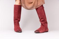 Bottes cavalières élégantes en cuir et daim italien pour femme Maison Via Roma.