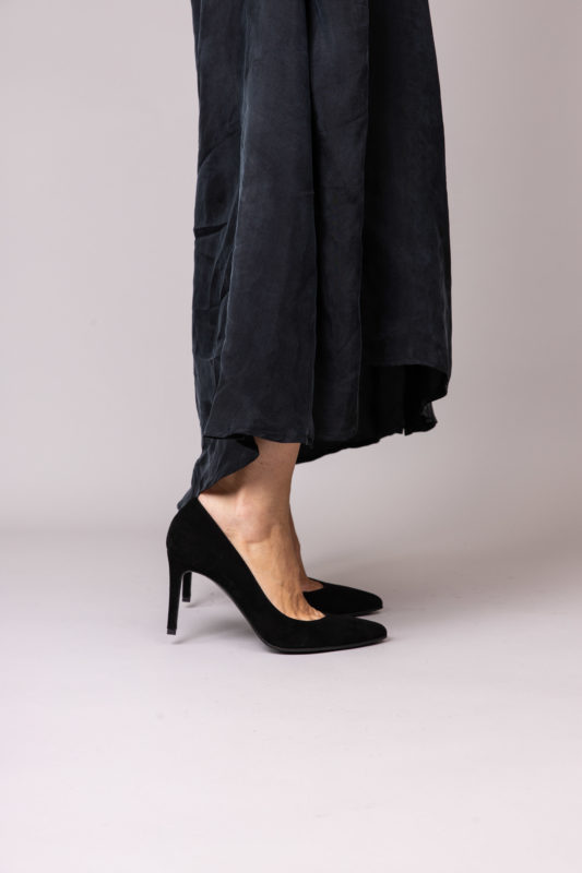 Escarpin à talon confortable noir en veau velour cuir Maison Via Roma.