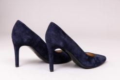 Escarpin à talon confortable bleu marine en veau velour cuir Maison Via Roma.
