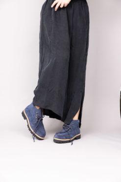 Chaussure à lacet bleu marine navy et semelle compensée Maison Via Roma.
