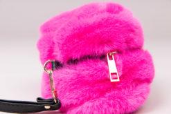 Mini sac en fausse fourrure beige Maison Via Roma