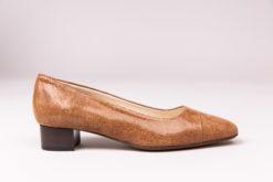 Ballerine à talon 3 cm en cuir de veau pressé cognac marron Maison Via Roma