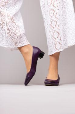 Ballerine à talon en cuir violet Maison Via Roma